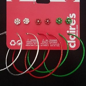 6 earring set hoops & studs Holiday colors NEW